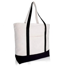 Heavy Duty Cotton Canvas Tote <strong>Bag</strong> (Zippered) black cotton <strong>bags</strong> with logo