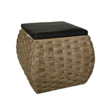 new arrived wholesale decorative bar stool handmade woven paper square storage sitting stool with leather lid