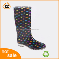 Lady fashion rubber rain boot with Unique Design, Colorful Dot women shoes with comfortable flat heel