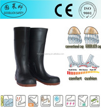 Anti-Static Black PVC Safety Boots Red Sole PVC Boots