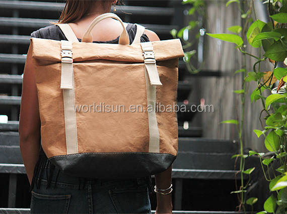 Waterproof lightweight bicycle bag/Convertible Messenger Bag/Washable kraft paper backpack for travel