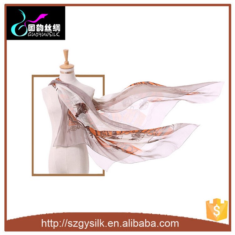Customized Digital Printing Silk Chiffon Silk Scarves