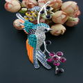 High quality colorful animal Hummingbirds crystal decoration brooch pins