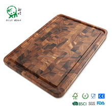 Acacia Hardwood End Grain Cutting Board with Juice Groove