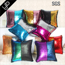 Hot selling Pillows Home Decor DIY two tone glitter sequins decorative throw pillow, mermaid sequin back sopport cushion