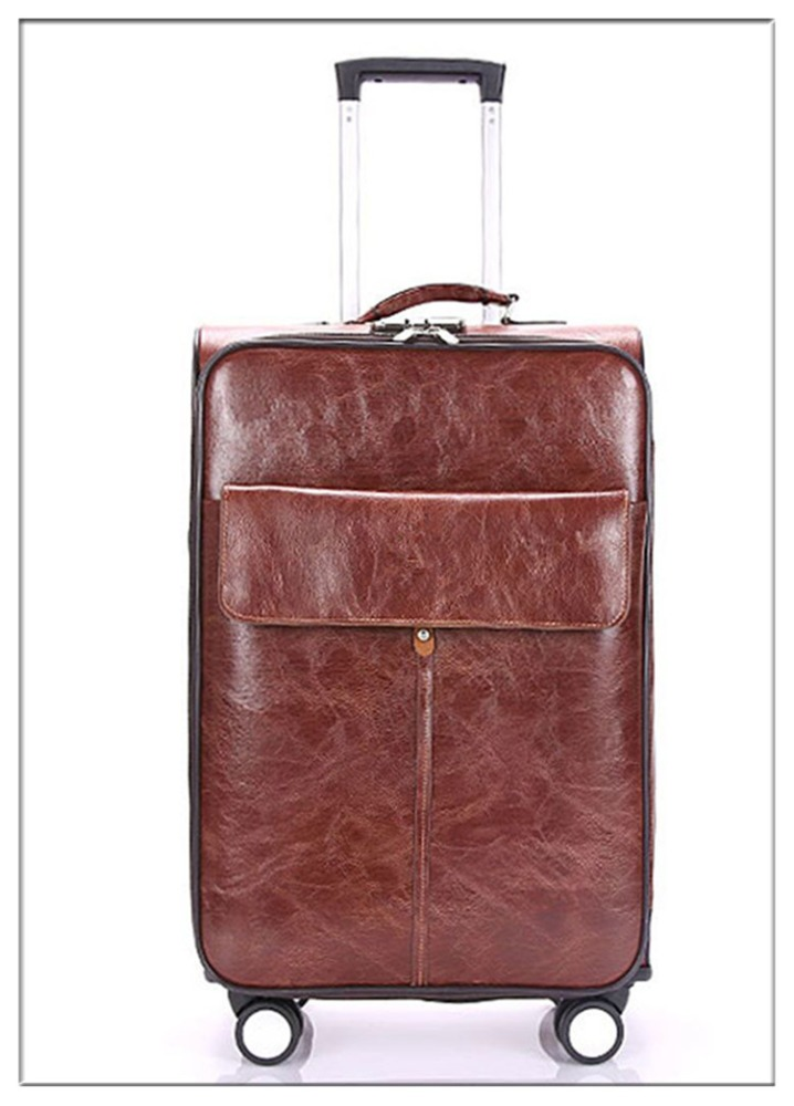 high quality carry on aluminum trolley travel pu leather luggage
