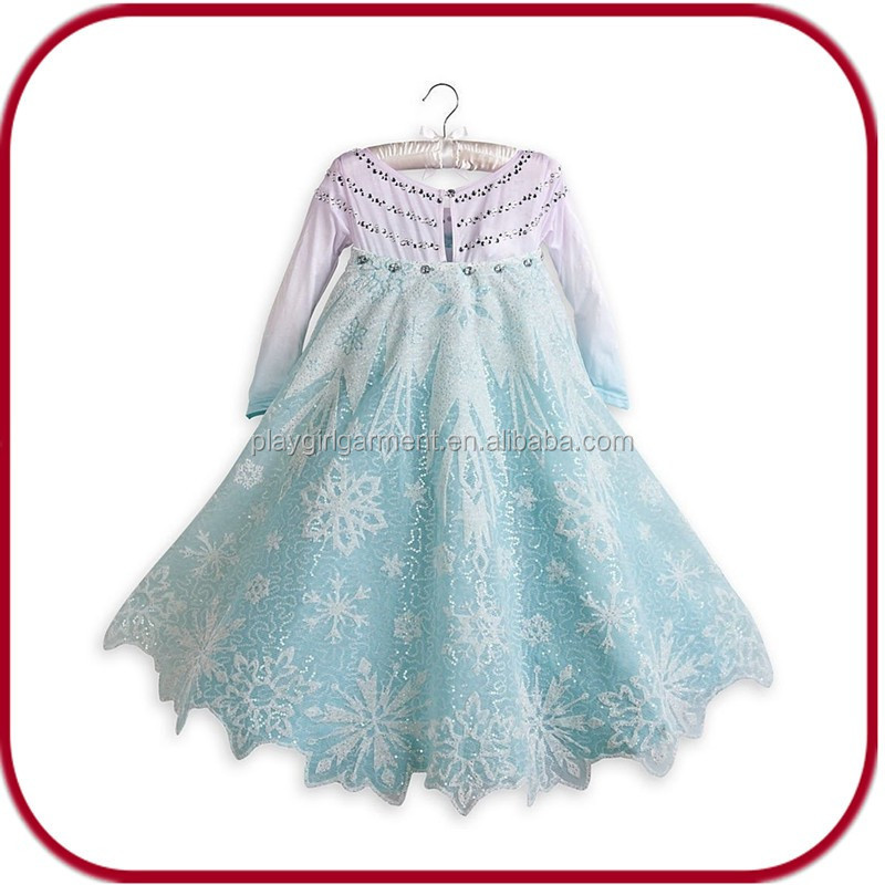 china supplier frozen cosplay princess costume elsa dress for girls PGKC-2382