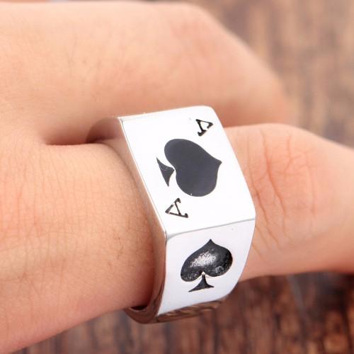 Men's Jewelry Cool Black Enamel Spades Poker Ring Gentleman Poker Finger Ring