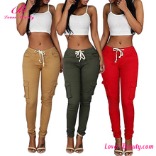 Ankle length long trousers 3 colors drawstring cargo pants for women