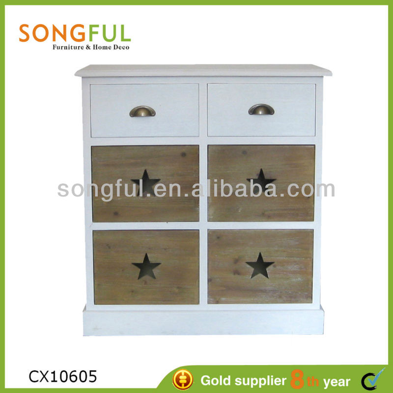 white brushed wooden storage cabinet with baskets