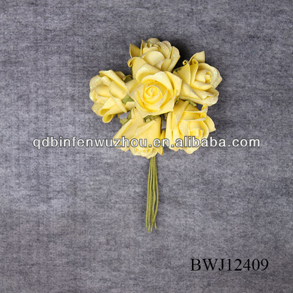 ARTIFICIAL FOAM yellow WEDDING Rose FLOWER