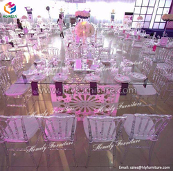 LED light knock down glass top wedding dining table