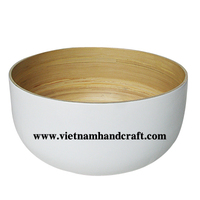 Quality eco-friendly hand lacquer finished vietnamese white lacquered handicrafts with natural coiled bamboo inside