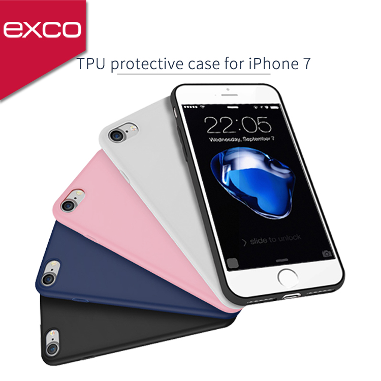 EXCO Hot Selling Clear soft gel tpu silicone pudding matte phone case For Iphone7