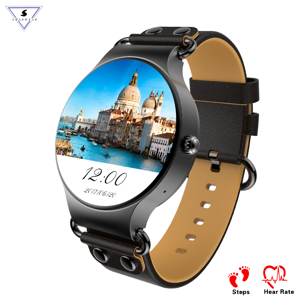 Fashion Cowhide Strap Smart Watch KW98 Bluetooth Weather Live Google Map 3G Phone Mic Pedometer Heart Rate Smart Band <strong>SIM</strong> WIFI