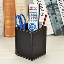 Leather Office desktop stationery desk pen stand pencil holders