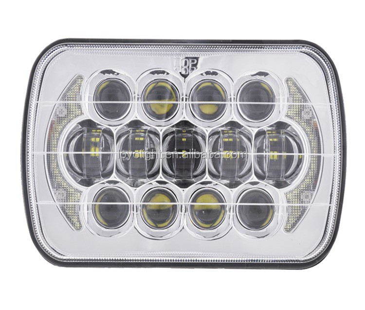 Chrome 5x7 sealed beam led headlight 7inch square for car