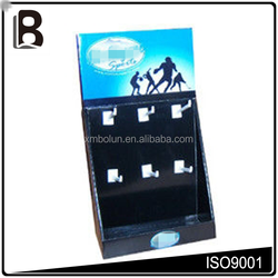 Removable optional header, 6 plastic hooks, corrugated cardboard countertop sports display cases