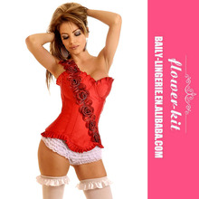 Mature Women Sexy Lingerie Red Shiny Satin Style Overbust Corset