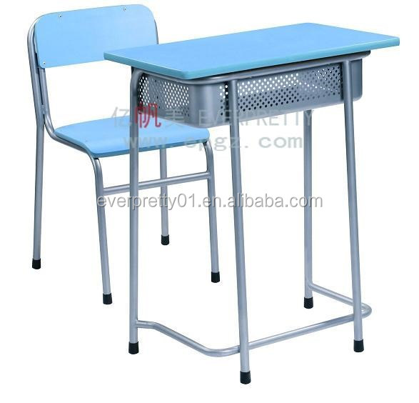 2015 New Design School Furniture Wood Fixed Single Desk & Chair for Primary/Middle/High School Student