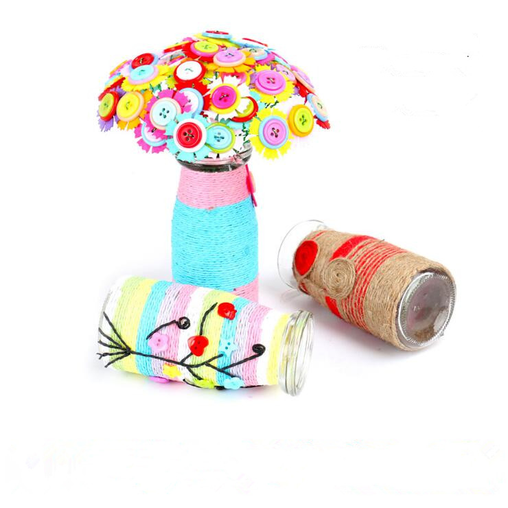 children DIY hand-made button bouquet creative button flower artificial craft decorations DIY puzzle toys for <strong>kids</strong>