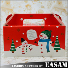 Merry christmas apple cake candy gift box,paper cardboard suitcase box with handle