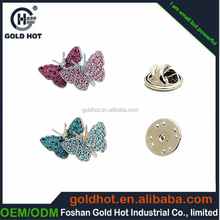 Golden supplier metal lapel pin with logo engraved colours