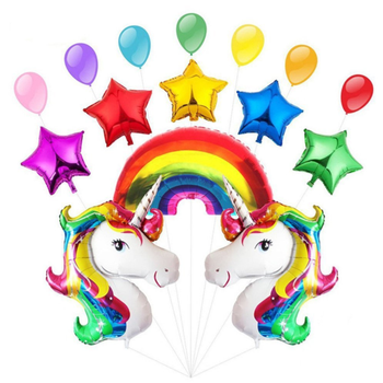 Large Rainbow Cartoon Unicorn Foil Balloon Party Set with Star and Rainbow for Baby Shower and Birthday Decoration