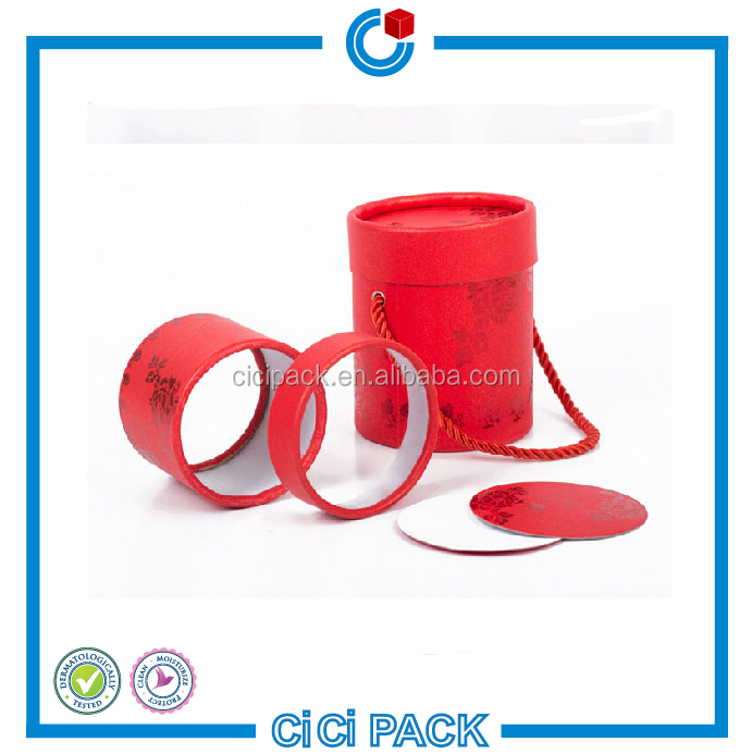 Wholesale Chinese NewYear Red Printed Round Packaging Gift Boxes Bride and Groom Wedding Favor Boxes With Red Ribbon