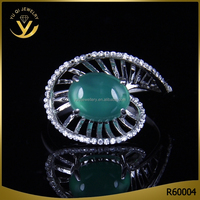 latest gold finger ring designs 2016 with natural green gemstone rings aaa zirconia stone jewelry the fan rings