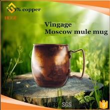 High quality 100% BPA free 550ml Moscow Mule Solid 100% Pure Copper Mug For Promotional Gift