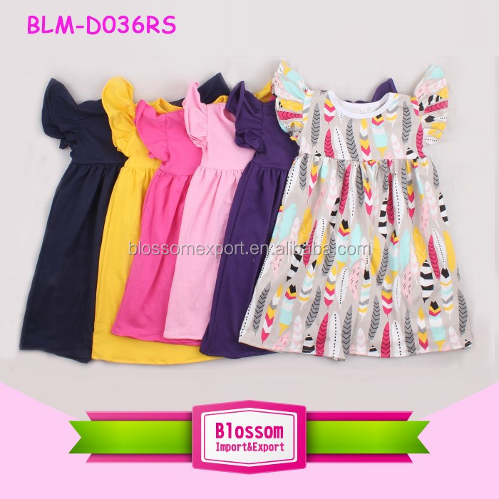 Cotton baby dress smock children knit frocks designs fashion pattern girls pearl tunic kids long icing flutter trim sleeve dress