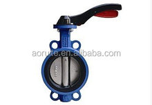 Aluminium Lever Cast Iron body Wafer end Type Centerline Butterfly Valve