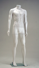 Clear dresses foam posing mannequin matte white male manikin with out head