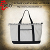 White and blue women fashion zipper canvas beach tote bag