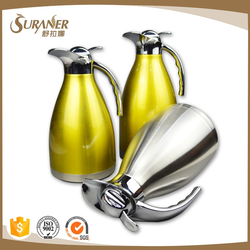 1.5L wholesale double wall glass liner arabian tea pot/coffee thermos/vaccum flask for hotel