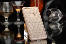 low price china cheap gold mobile phone case for iphone 5 5s 6 6s 4.7 inch with custom pu plastic leather lambskin grid style