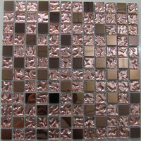 Building material crystal glass stainless stell mosaic tile for bathroom wall