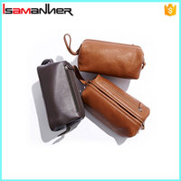 Trendy portable hipster travel busniess mens leather toiletry bag with handle