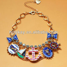 Nautical Anchor charms necklace, Golden link statement necklace, 2014 New product! Petite wome accessories