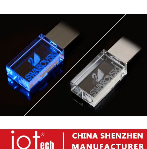 Wholesale Cheap Price 2GB 16GB Crystal Pendrive, Bulk 1GB Glass USB Flash Drives with 3D Logo