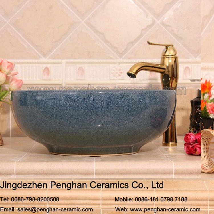 China traditional handmade art ceramic table top Mounted Bathroom Sinks