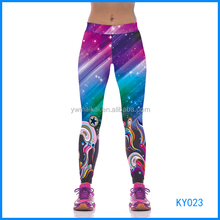 High waist girls custom printed tights fitness wear