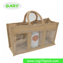 Wholesale Jute 3 Wine Bottle Tote Bags Plastic Transparent Window