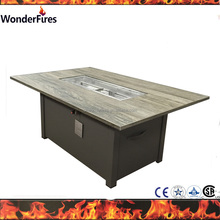 New outdoor rectangle tile top ,Aluminum base gas firepit table