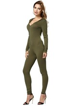 Women Sexy V-neck Long Sleeve Solid Bodycon Slim Hooded Dress Jumpsuits Pants S/M/L/XL