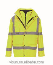high visibility winter fleeces safety jacket with reflective tape