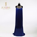Fantastic Blue Sleeveless Seen-through Neckline Tassels Sheath Long Women Evening Dress