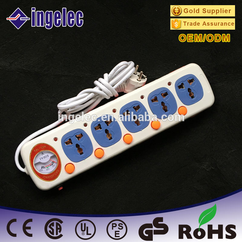 5 way 2-pin plug power converter power extension socket manufacturer