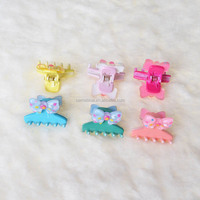 Candy Color Baby Comfortable Plastic Bowknot Little Star Decoration Hair Claw Clip.